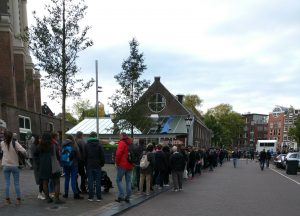 Line to see the Anne Frank museum.